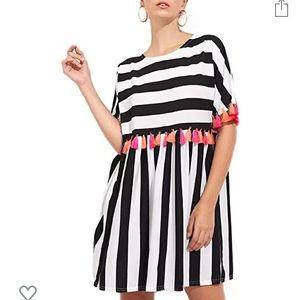 Dresses & Skirts - Black & White striped t-shirt dress with tassels!